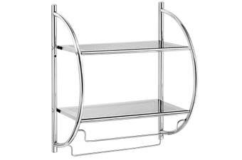 Costway 2-Tier Chrome Towel Rail Rack, Wall Mounted Organiser Storage Shelf w/2 Hanging Bars, Bathroom Kitchen