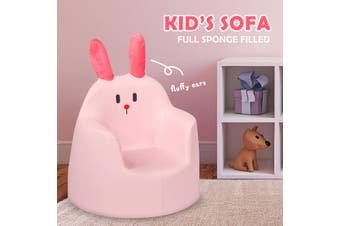 Costway Rabbit Kids Sofa, Toddler Armchair Couch, Lounge Chair, Upholstered Baby Seat, Pink