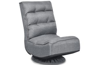 Costway Swivel Lounge Sofa Bed Floor Recliner Folding Chaise Chair Gaming Seat Adjustable Lazy Sofa,Grey