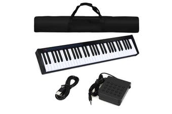 Costway 61 Keys Electronic Piano - Portable Cordless Keyboard / MIDI / Sustain Pedal / Black
