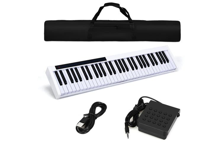 Costway 61 Keys Electronic Piano - Portable Cordless Keyboard / MIDI / Sustain Pedal / White
