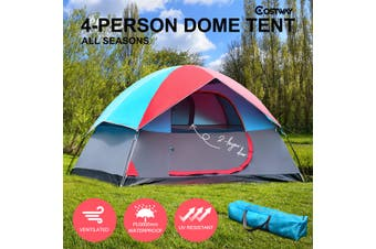 4 Person Family Camping Tent Hiking Beach Canvas Swag Dome Waterproof
