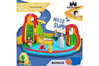 Inflatable Water Slide, w/ Double Slides, Jumping Castle, Bouncer House, Water Park Splash Pool Toy Outdoor