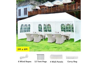 3x6m Gazebo Party Wedding  Marquee Event Tent Outdoor Camping Canopy BBQ Shelter With 4 Side Walls