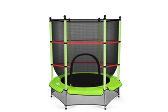 Kids 4.5ft Round Trampoline w/Enclosure Safety Net Outdoor Jumping Green Gift