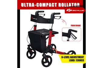 Costway Rollator 4 Wheel Foldable Walking Frame Compact Mobility Walker Seniors Aids with Crutch Holder