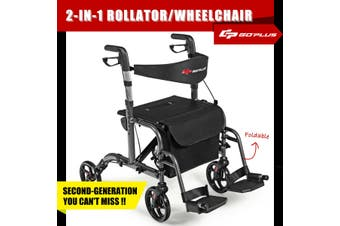 2-IN-1 Folding Rollator Walker Wheelchair w/Park Brakes Compact Mobility Walking Frame Seniors Aids Medical