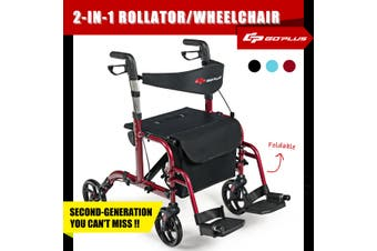 Costway 2-IN-1 Folding Rollator Walker Wheelchair w/Park Brakes Compact Mobility Walking Frame Seniors Aids Medical, Red
