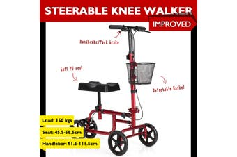 Folding Steerable Knee Walker Mobility Scooter w/Park Brake Detachable Iron Basket