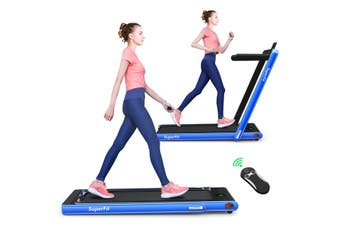 Costway 2 IN 1 Electric Treadmill, Folding Compact Running Machine, Home Gym Walking Exercise Equipment, Blue