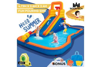 Inflatable Water Slide Jumping Castle Water Park Splash Toy Outdoor Bouncer House W/Blower