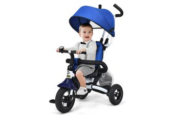 Costway Baby Tricycle, Compact and Foldable Learning Bike, w/Canopy and Park Brake, Blue