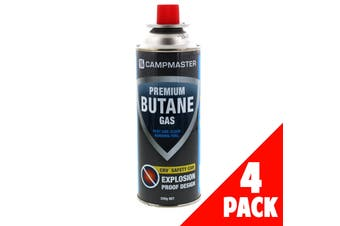 Cartridge Premium Butane 220g 4 Pack Explosion Proof Cans Safety Flame Control