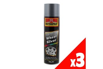 Wheel Silver Acrylic Spray Paint Can 400g Motospray Metallic Finish Tough 3 Pack