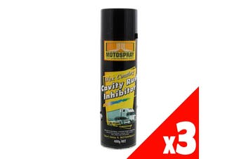Cavity Rust Inhibitor Spray Can 400g Motospray Water Repellent Protection 3 Pack