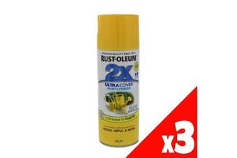 2X Ultra Cover Gloss Spray Aero Sun Yellow Superior 340g Can Rustoleum 3 Pack