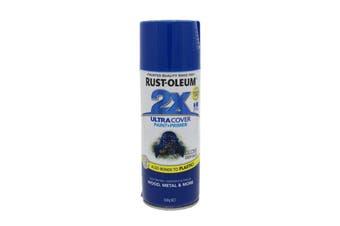 2X Ultra Cover Gloss Spray Aero Deep Blue Superior Coverage 340g Can Rustoleum