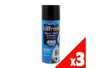 Killrust Gloss Black Spray Paint Can 300g Wattyl Anti-Rust Protection 3 Pack