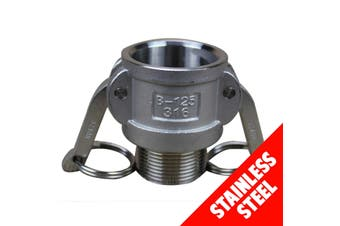 "Camlock STAINLESS STEEL 316 25mm (1"") Type B Fem Coupler x Male BSP Cam Lock"