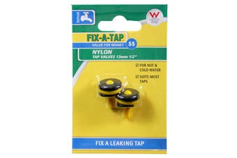 Fix-A-Tap Nylon Tap Valve 2 Pack 13mm 1/2 Inch 208125 Economy Hot Cold Water