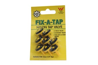 Fix-A-Tap Nylon Tap Economy Valves 8 Pack Suits 13mm (1/2 Inch) Tap 208118