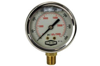 "Water and Air Pressure Gauge New 1/4"" Brass BSPT Thread 0 - 3500psi/25000kpa"