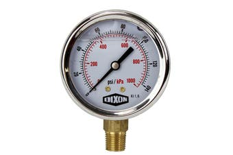 "Water and Air Pressure Gauge New 1/4"" Brass BSPT Thread 0 - 140psi/1000kpa"