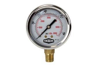 "Water and Air Pressure Gauge New 1/4"" Brass BSPT Thread 0 - 860psi/6000kpa"