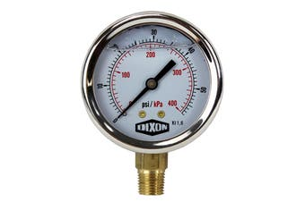 "Water and Air Pressure Gauge New 1/4"" Brass BSPT Thread 0 - 58psi / 400kpa"