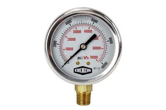 "Water and Air Pressure Gauge New 1/4"" Brass BSPT Thread 0 - 10000psi/69000kpa"
