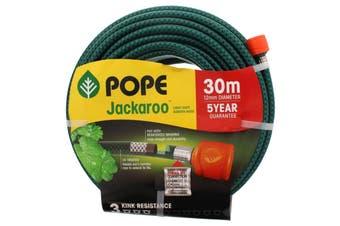 Garden Hose JACKAROO With Connectors 12mm x 30m Light Duty Pope