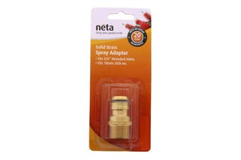 Neta Brass Spray Adaptor 3/4 Inch Threaded Inlets x 18mm Hose Garden Fitting