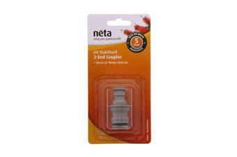 Neta 2 End Hose Coupler 18mm x 12mm Click On Converter UV Stabilised Garden