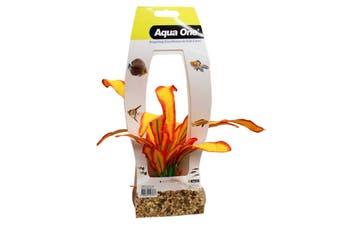 Aquarium Silk Plant ORANGE SWORD with Gravel Base LARGE 29075 Fish Tank Aqua One
