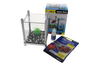 Betta Kit BettaBloc Stackable 1L SILVER 56119SV Fish Tank Aquarium Aqua One