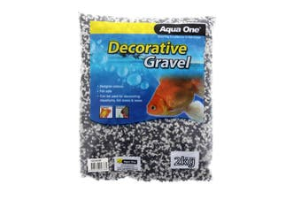 Aquarium Decorative Gravel Mixed White & Black 2mm 2kg Fish Tank 10286W Aqua One
