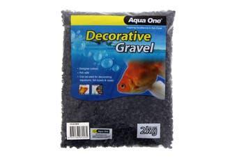 Aquarium Decorative Gravel Black 7mm 2kg Fish Tank Pebbles 10283BK Aqua One