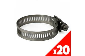 Worm Gear Hose Clamp 21-38mm OD Range STAINLESS STEEL x20