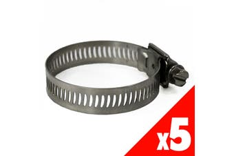 Worm Gear Hose Clamp 17-32mm OD Range STAINLESS STEEL x5