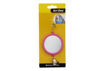 Bird Round Mirror With Bell 7.7cm Bird Aviary Toy Health Interactive Cage