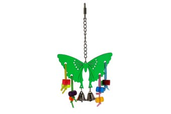 Bird Toy Acrylic Butterfly With Bells Toy Health Interactive Ornament Cage Bird