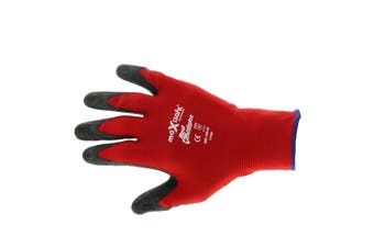 Red Knight Latex Gripmaster Gloves Large Pair Safety Seamless Nylon Lycra