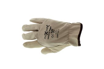 Premium Beige Rigger Gloves Large Pair Safety Premium Cowgrain Leather Stitched