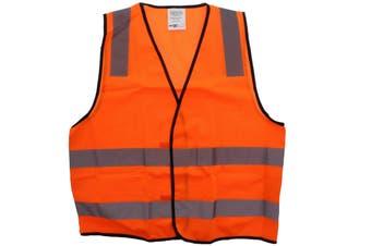 Hi-Vis Orange Safety Vest Day/Night L Pattern Reflective Tape AS NZS Compliant