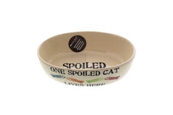 Cat Bowl One Spoiled Pet Oval Dishwasher & Microwave Safe Kitten Feed Food