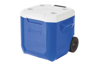 Coleman Cooler Wheeled Blue 42L Insulated Rust Resistant Retractable Handle