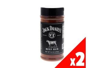 Jack Daniels BBQ Rub - Beef 9oz Premium Gluten Free Barbecue Made In USA 2 Pack