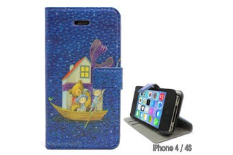 Cute Wallet Case with Bears for Apple iPhone 4 4S