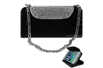 Luxury Black Bling Faux Snake Leather Purse Cover for iPhone 5 5S SE