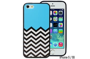 Blue Black White Chevron Printed Hard Back Case for Apple iPhone 5 5S SE